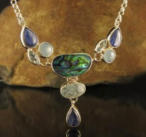 Paua Shell & Kyanite & Aquamarine & Blue Topaz N/L