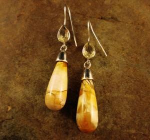 Brecciated Mookaite & Citrine Earrings