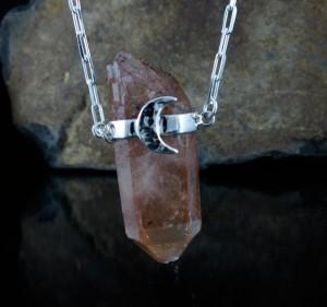 Tangerine Quartz 'Moon' Necklace