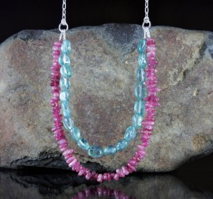 Pink Tourmaline & Blue Apatite Necklace