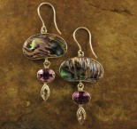 Paua Shell & Amethyst & White Topaz Earrings