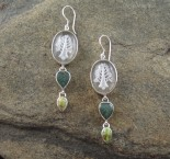 Clear Quartz, Jade & Gaspeite Earrings