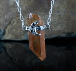 Tangerine Quartz 'Moon' Necklace