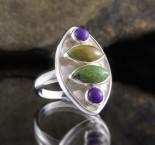 Gaspeite & Sugilite Ring