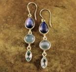 Kyanite & Aquamarine & Blue Topaz Earrings