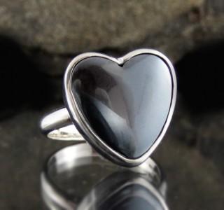 Hematite Heart Ring