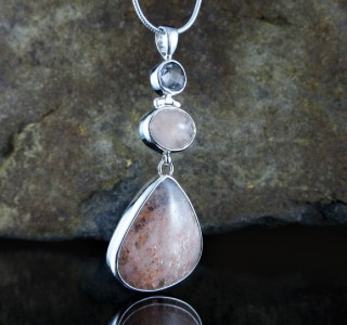 Clear Quartz & Sunstone Pendant Lge
