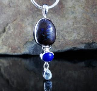 Boulder Opal & Lapis Lazuli & Aust. Aquamarine Pdt L