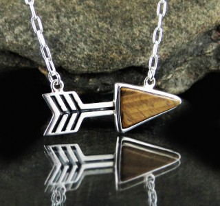 Tiger Eye 'Arrow' Necklace