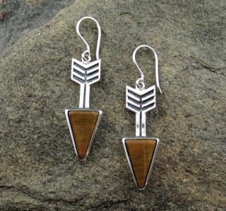 Tiger Eye 'Arrow' Earrings