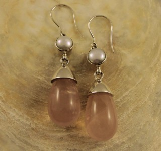 Pearl & Rose Quartz Earrings