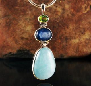 Peridot & Kyanite & Aquamarine Pdt Lge