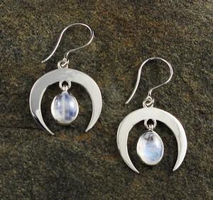 Rainbow Moonstone 'Moon' Earrings