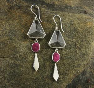 Clear Quartz & Ruby Earrings