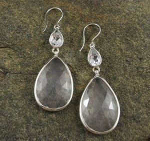 White Topaz & Moon Quartz Earrings