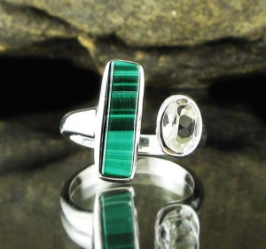 Malachite & White Topaz Ring
