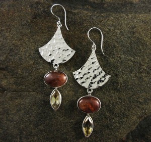 Citrine & Hessonite Garnet Earrings