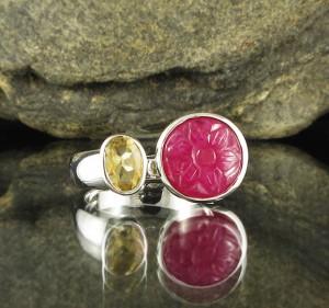 Ruby 'Rose' & Citrine Ring