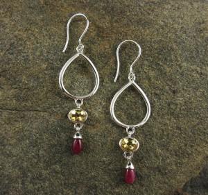Citrine & Ruby Earrings