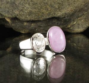 Kunzite & White Topaz Ring