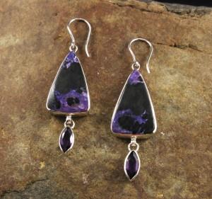 Charoite & Amethyst Earrings