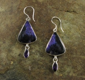 Charoite & Amethyst Earrings