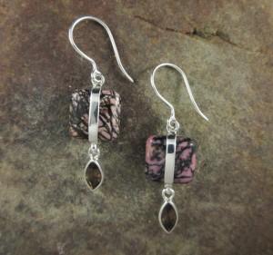 Rhodonite & Smoky Quartz Earrings