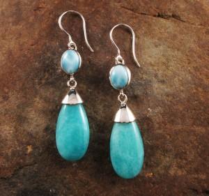 Larimar & Amazonite Earrings