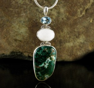 Blue Topaz & White Quartz & Chrysocolla Pdt Lge