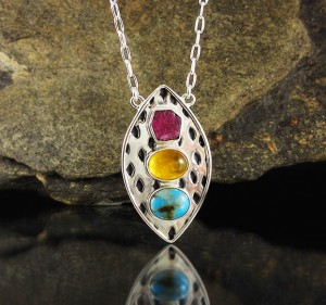 Ruby & Amber & Turquoise Necklace