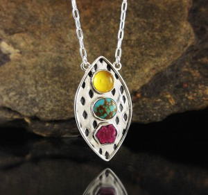 Amber & Turquoise & Ruby Necklace