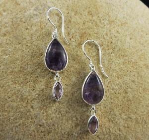 Fluorite & Amethyst Earrings