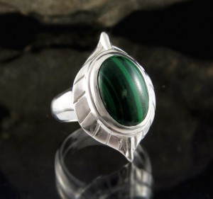 Malachite Leaf Ring