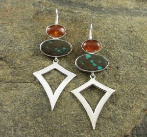 Hessonite Garnet & Turquoise Earrings
