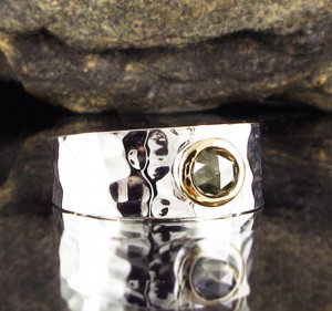Salt and Pepper Diamond Ring with 14ct Gold bezel