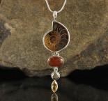 Ammonite & Hessonite Garnet & Pyrite & Citrine Pdt Lge
