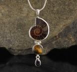 Ammonite & Tiger Eye & Smoky Quartz Pdt Med