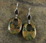 Smoky Quartz & Rainforest Rhyolite Earrings