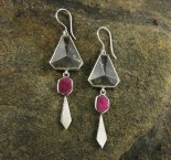 Clear Quartz & Ruby Earrings