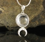 Clear Quartz Moon Pendant Med