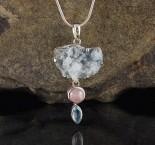 Aqua Aura Quartz & Morganite & Blue Topaz Pdt Med