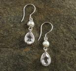 Pearl & White Topaz Earrings