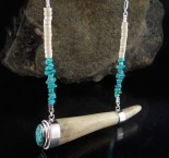 Turquoise & Deer Antler Necklace
