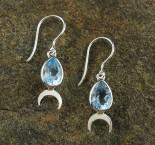 Blue Topaz 'Moon' Earrings