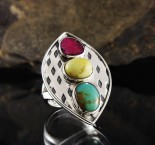 Turquoise & Amber & Ruby Ring