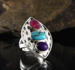 Ruby & Turquoise & Sugilite Ring