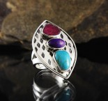 Ruby & Sugilite & Turquoise Ring