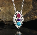 Ruby & Sugilite & Turquoise Necklace