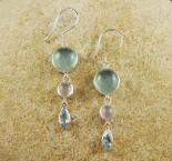 Fluorite & Rose Quartz & Blue Topaz Earrings