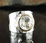 White Topaz Ring with 14ct Gold Bezel